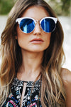 Road Ahead Reflective Sunglasses - White/Blue - Haute & Rebellious