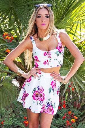 FLORAL PRINT HIGH WAISTED A-LINE SKIRT - Haute & Rebellious