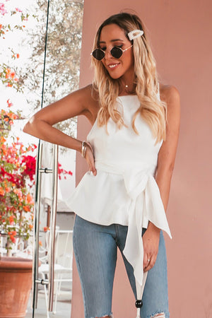 Cross Back Peplum Bow Tie Top