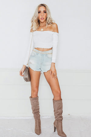 Off-Shoulder Ribbed Crop Top - White