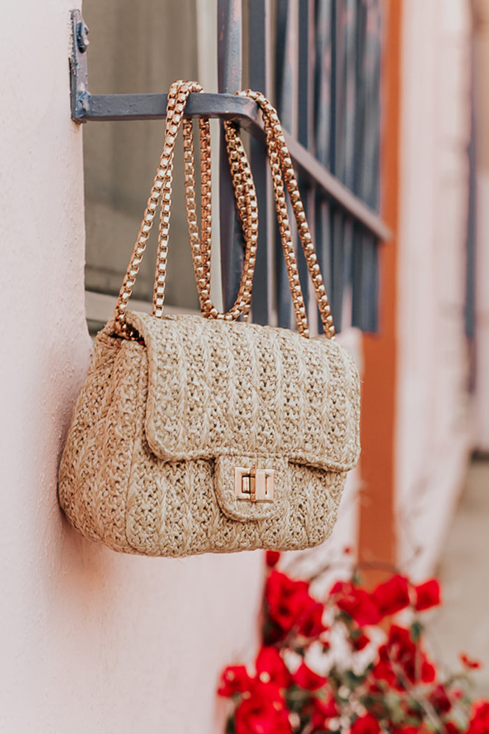 Medium Quilted Straw Bag