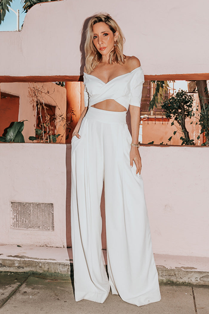 Raya High-Waisted Wide-Leg Pant - White