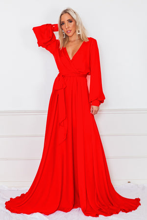 Deep-V Satin Maxi Dress - Red