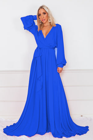 Deep-V Satin Maxi Dress - Blue