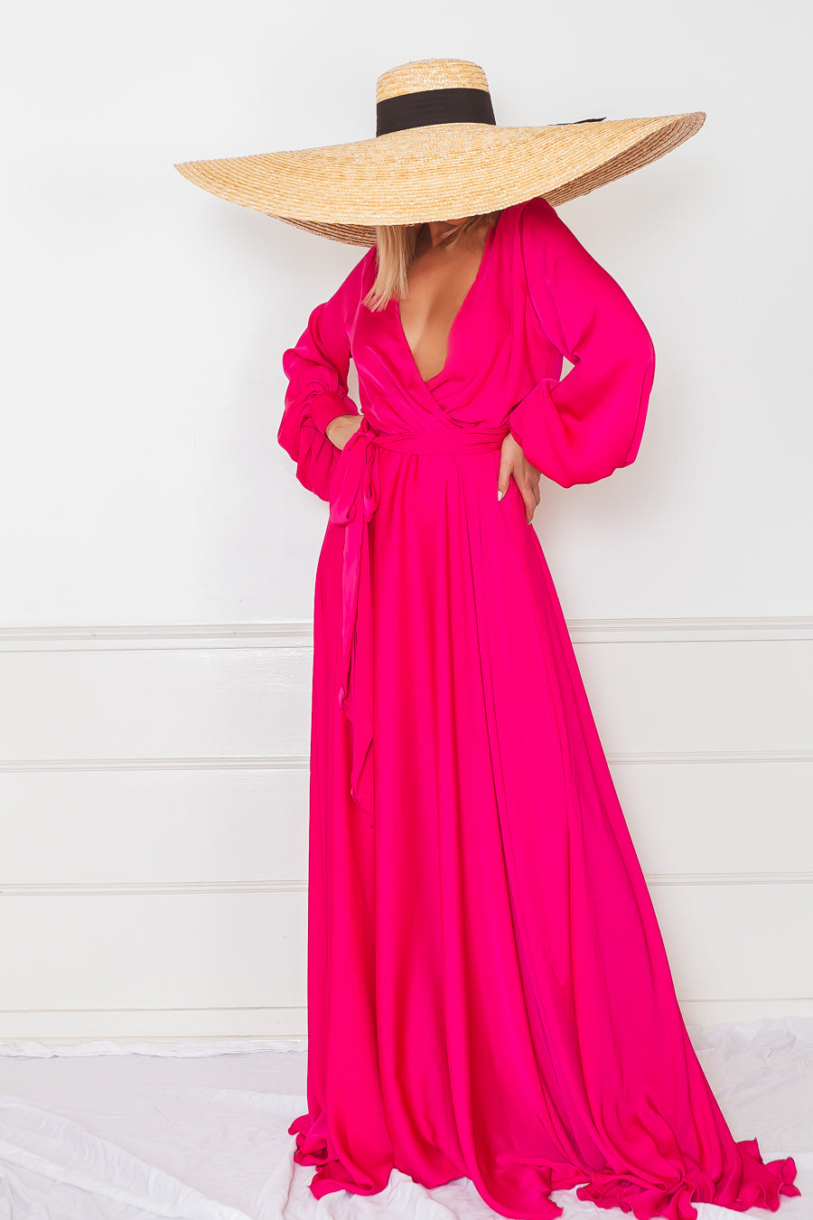 Deep-V Satin Maxi Dress - Fuchsia