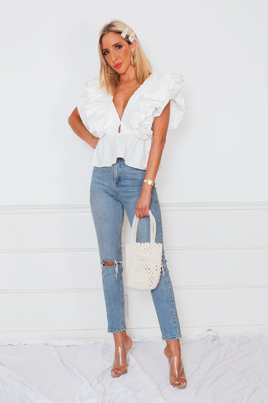 Deep-V Layered Ruffle Top - White