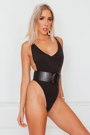 Deep-V Plunging Bodysuit - Black