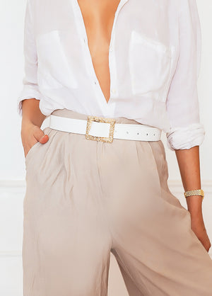 Crocodile Skin Belt with Gold Buckle - White