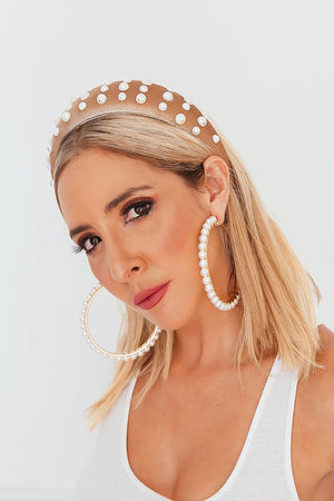 Beaded Pearl Velvet Headband - Tan