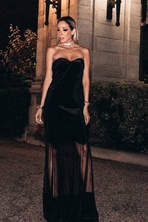Velvet Nights Strapless Maxi Dress