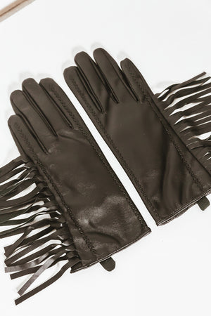 Leather Fringe Gloves
