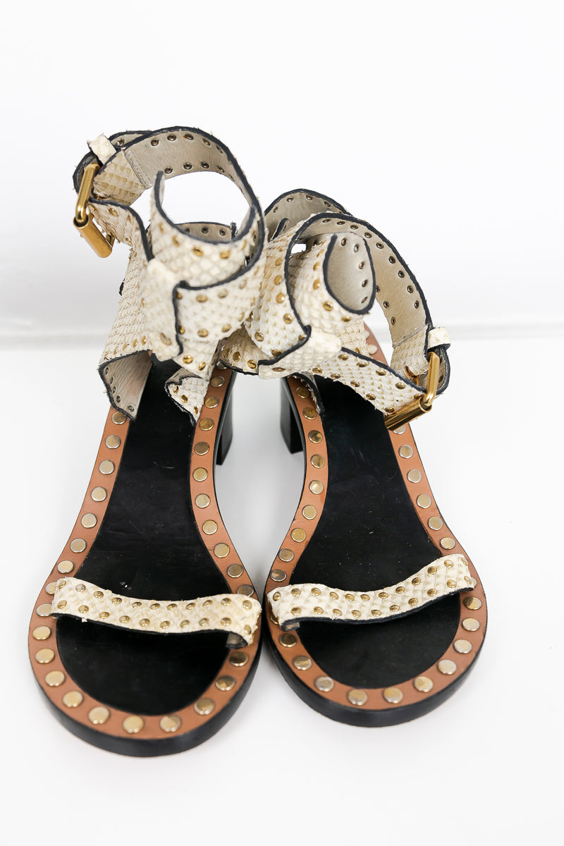 Isabel Marant Jaeryn Studded Snake-Effect Leather Sandal [Authentic]