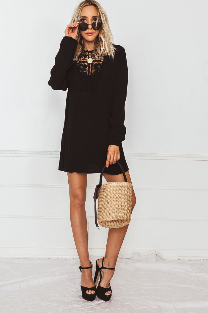 Linen Sun Dress with Crochet Detail - Black