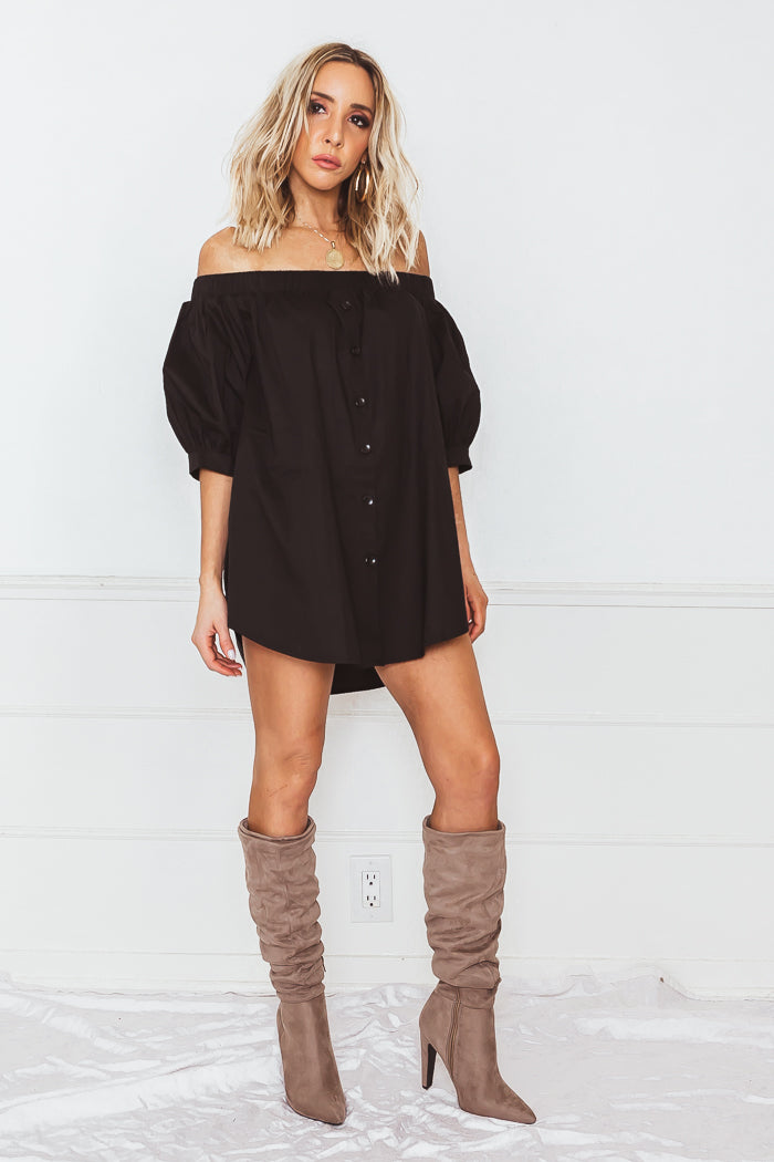 Button-Up Off-Shoulder Top - Black