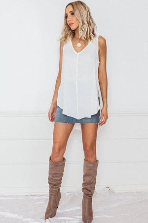 Sleeveless Chiffon Top - White