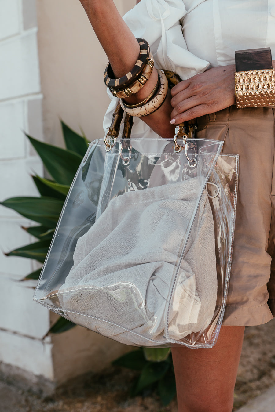 Clear Bag with Bamboo Handle