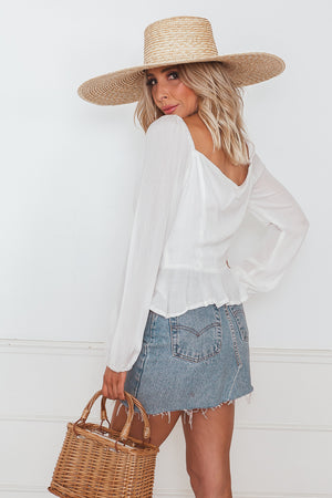 Off-Shoulder Button-Up Woven Blouse