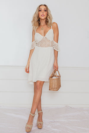 Off-Shoulder Mini Dress with Mesh Detail - Cream