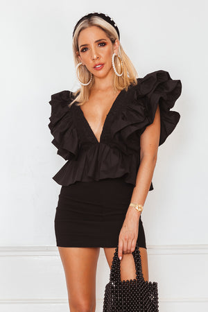Deep-V Layered Ruffle Top - Black