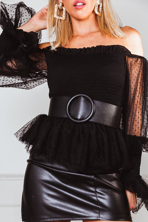 Mesh Puff Sleeve Top - Black