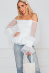 Mesh Puff Sleeve Top - White