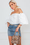 Button-Up Off Shoulder Top - White