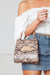 Snake Skin Small Bag with Bamboo Handle