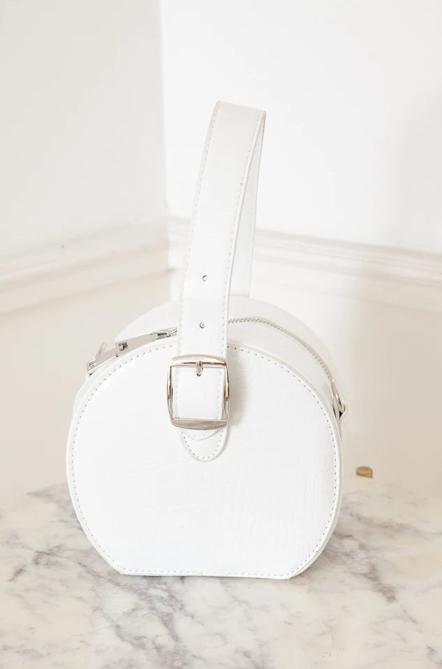 Small Circle Snake Skin Bag - White
