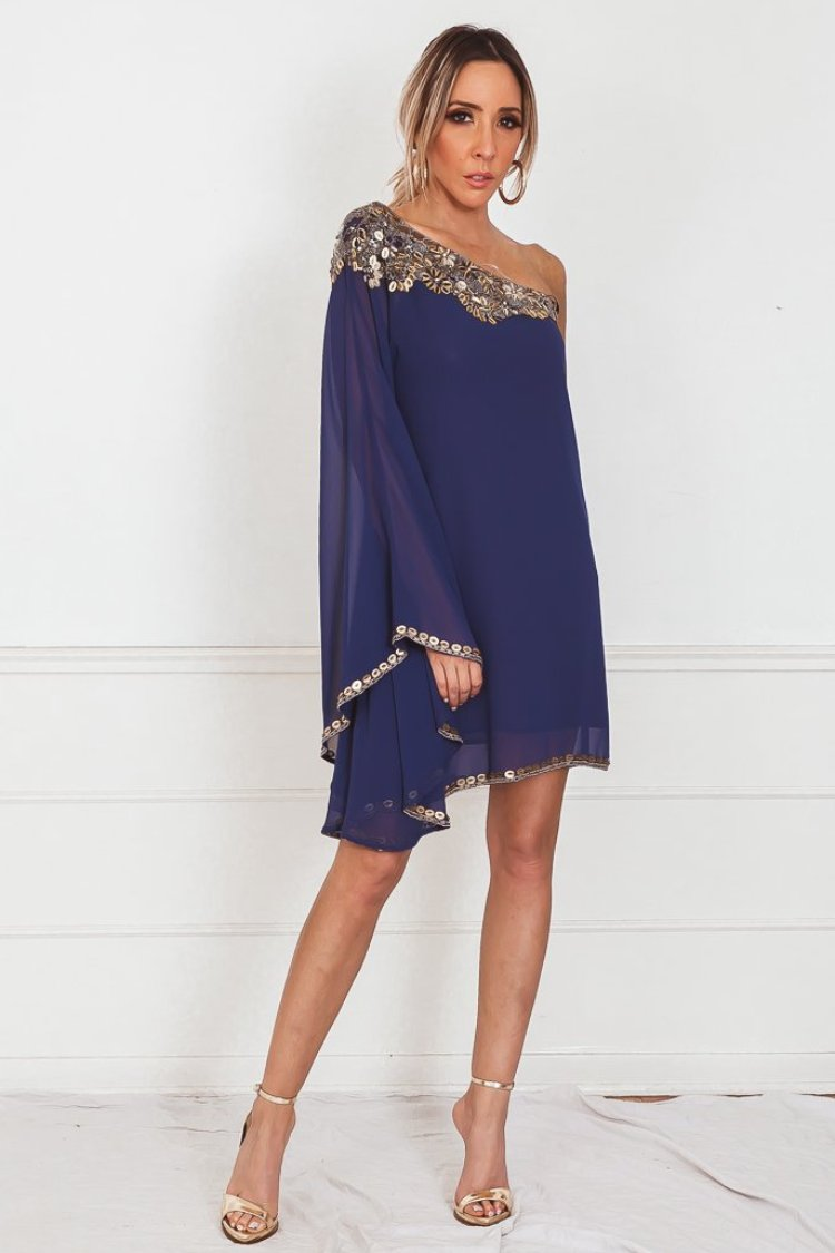 One-Shoulder Draped Dress with Embellishment