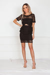 Lace Peplum Mini Dress - Black