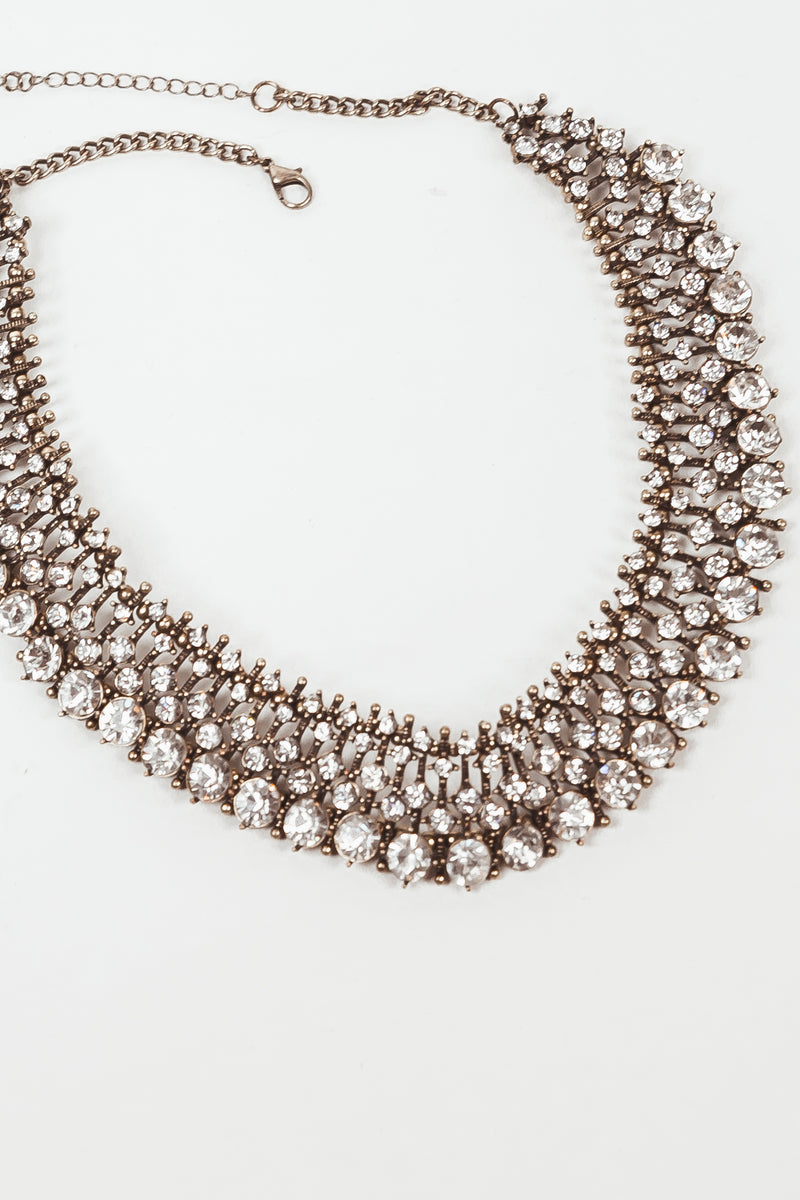 Flat Multi Crystal Necklace - Gold