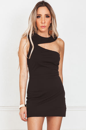 One Shoulder Mini Dress - Black