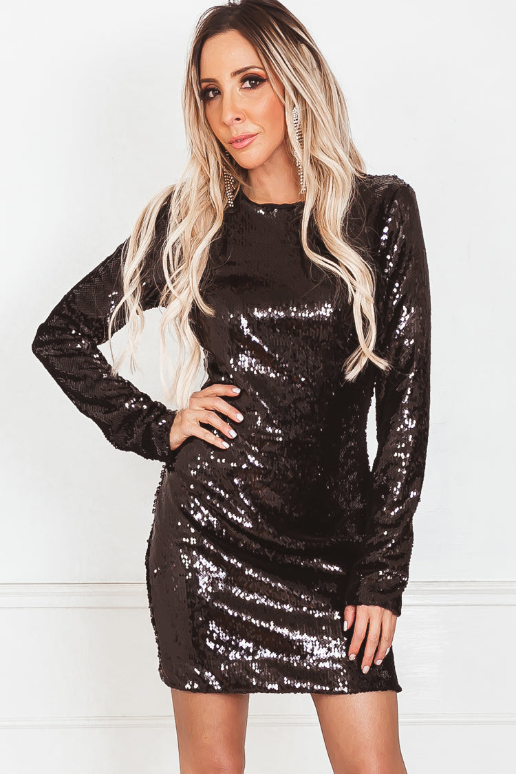 Long Sleeve Sequin Body-Con Dress - Black
