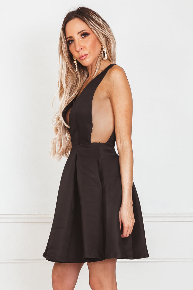 A-lined Sleeveless Mini Dress - Black