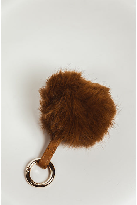 Faux Fur Pom Key Chain - Brown