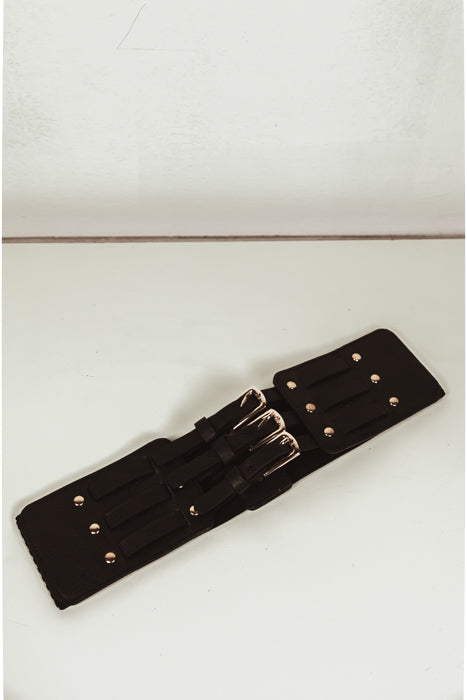 Triple-Buckle Leather Belt
