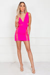 Neon Mini Dress with Mesh Contrast