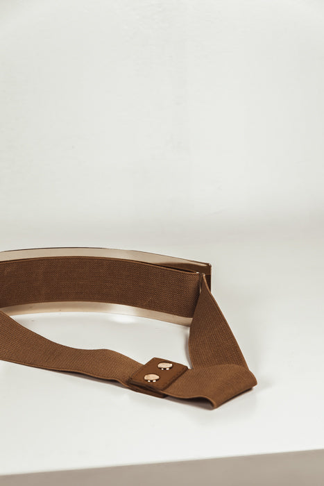 Oversize Gold Plated Belt - Brown