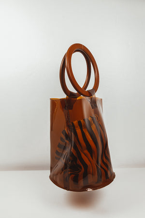 See-Through Brown Bucket Bag