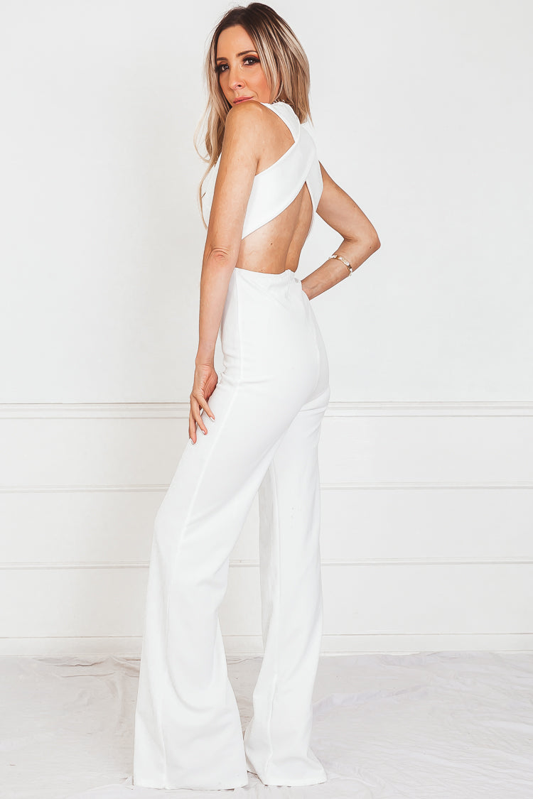 Jet Setter Cross Back Jumpsuit - White /// Only 1-S Left ///