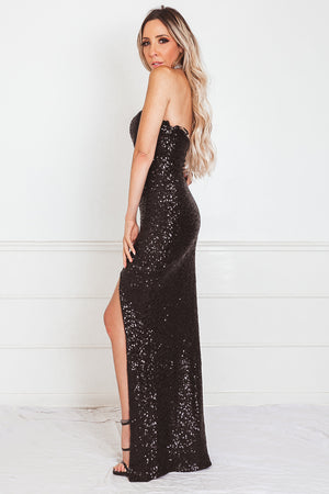 Sequin Strapless Maxi Dress with Slit