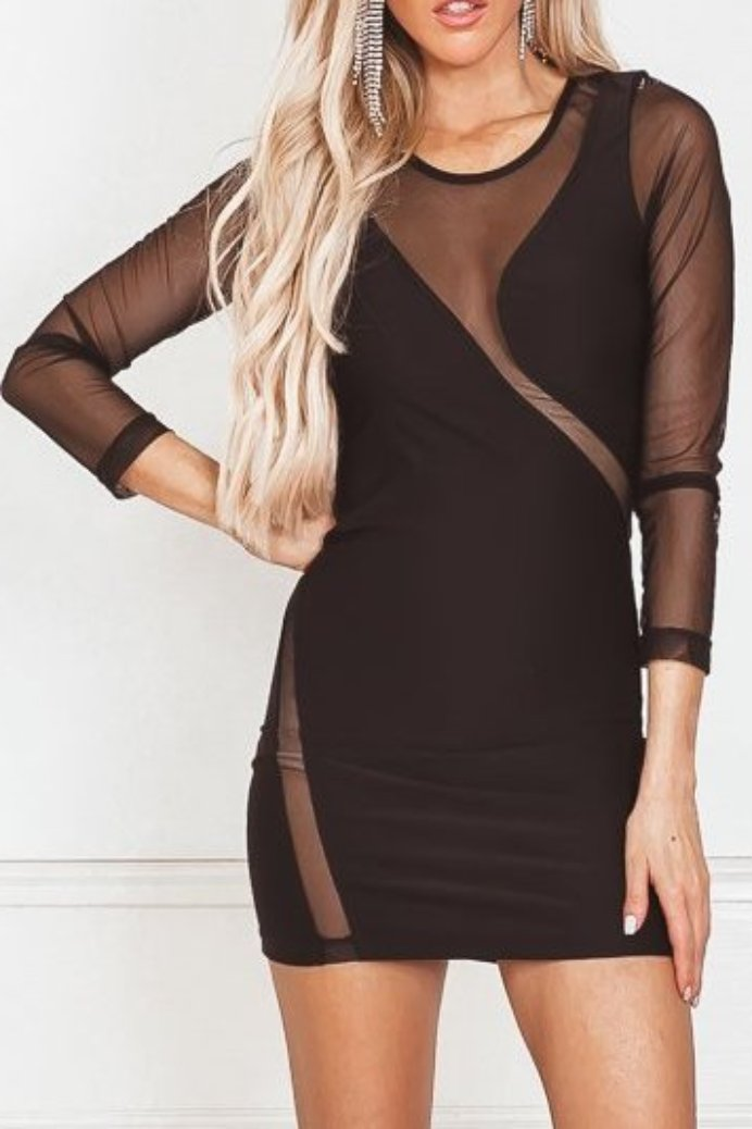 Mesh Detail Mini Dress - Black