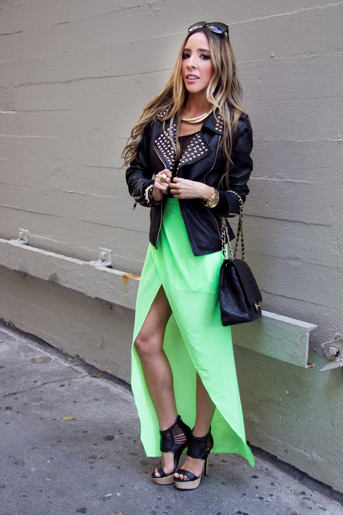 TULIP CHIFFON SKIRT WITH SHORTS  - Neon Green (Final Sale)