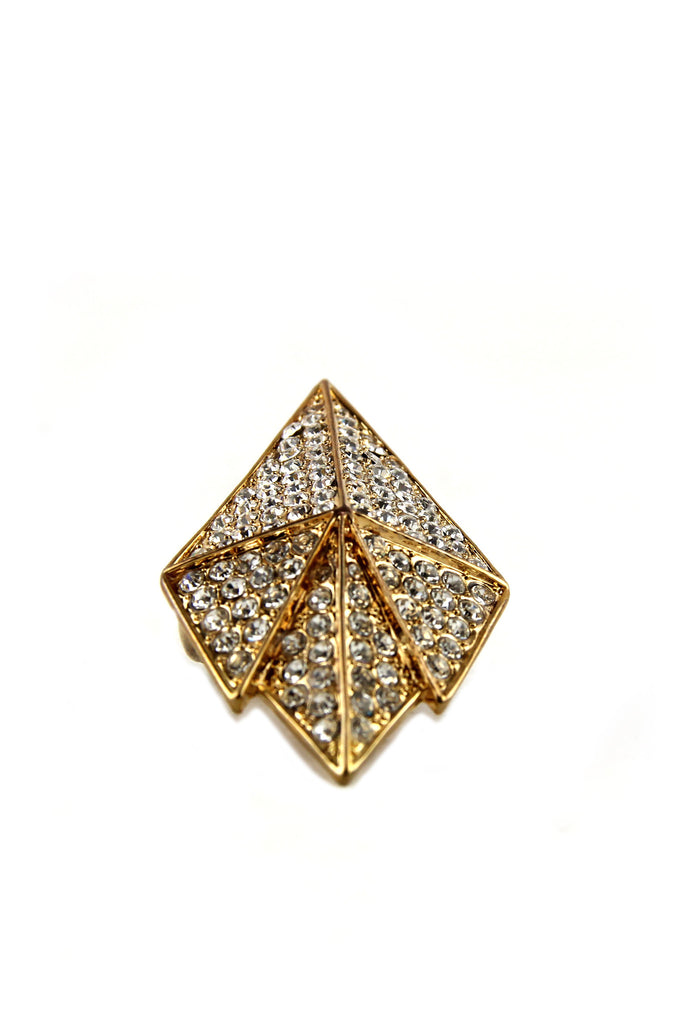 SHIELDED CRYSTALS RING - GOLD