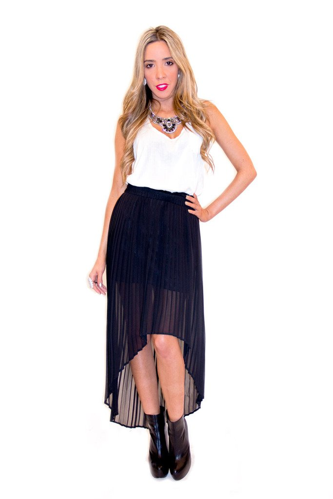 HIGH-LOW PLEATED CHIFFON SKIRT - Black