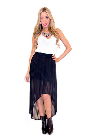 HIGH-LOW PLEATED CHIFFON SKIRT - Black - Haute & Rebellious