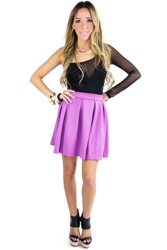 A LINED SKIRT- Electric Purple