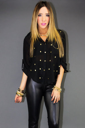 GOLD STUDDED CHIFFON BLOUSE - Black - Haute & Rebellious