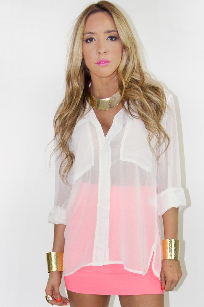 TWO POCKET CHIFFON TOP - White