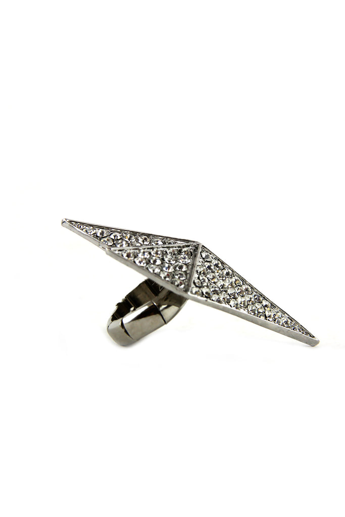SHIELDED CRYSTALS RING - SILVER